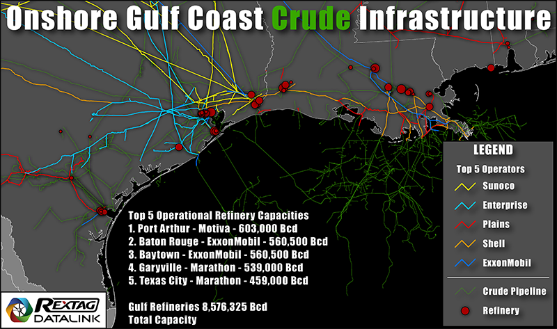 Onshore Gulf Coast Crude Infrastructure Map