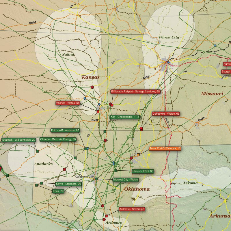 U.S. Crude Oil by Rail Infrastructure Wall Map detail