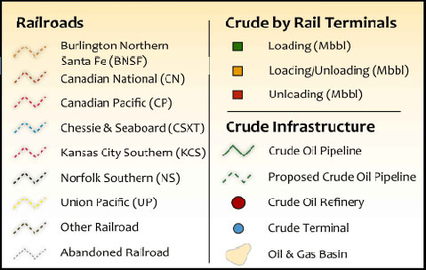 U.S. Crude Oil by Rail Infrastructure Wall Map legend