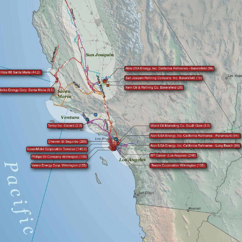 U.S. Crude Oil Infrastructure Wall Map detail