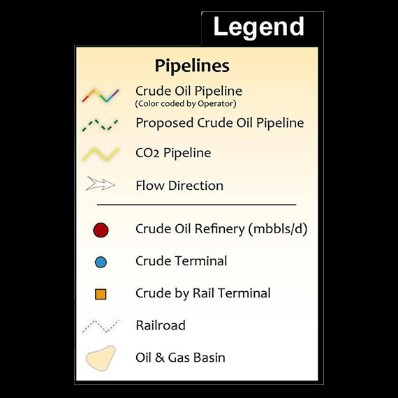 U.S. Crude Oil Infrastructure Printed Map Updated October 2017 legend