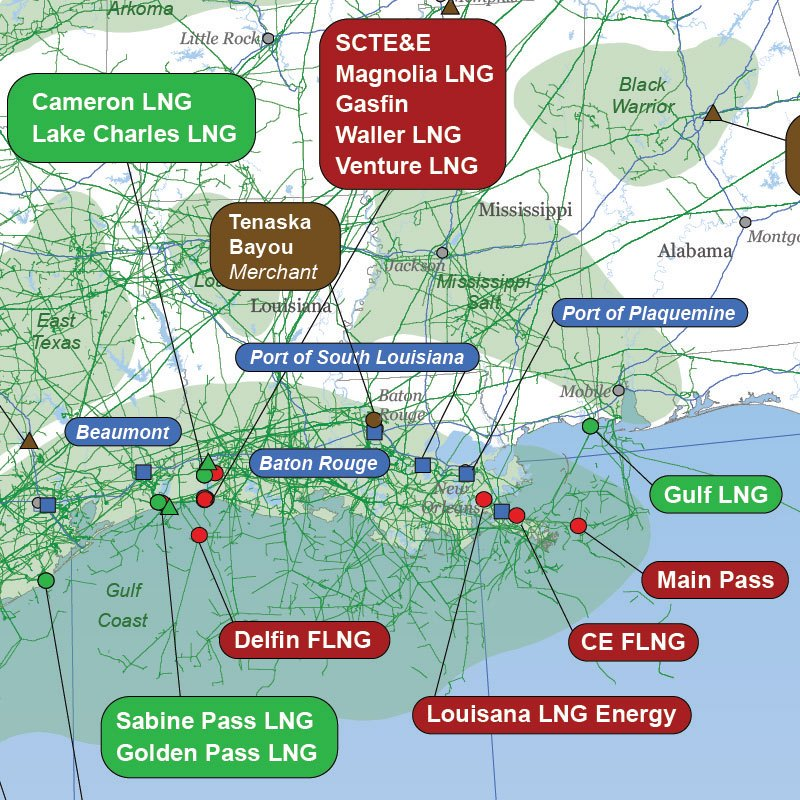 North American LNG Infrastructure Map detail