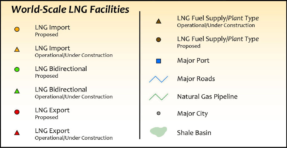 North American LNG Infrastructure Map legend