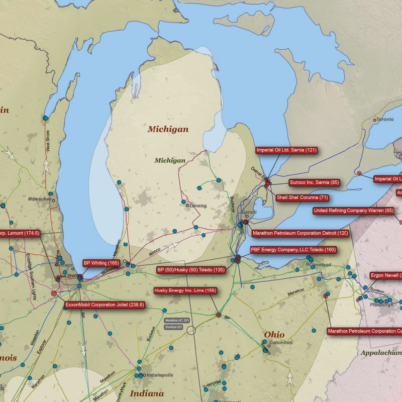 U.S. Refined Products Infrastructure Wall Map detail