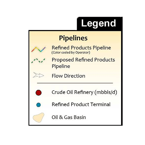 U.S. Refined Products Pipeline Infrastructure Printed Map Updated October 2017 legend