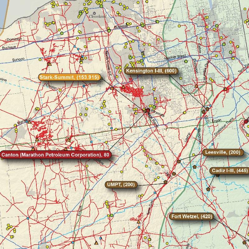 Appalachian Basin Oil & Gas Wall Map detail