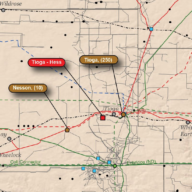 Bakken oil & gas Infrastructure Wall Map detail