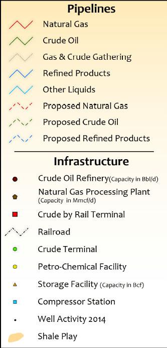 Bakken oil & gas Infrastructure Wall Map legend