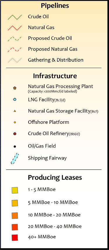 Gulf of Mexico Infrastructure Oil & Gas Infrastructure Map legend