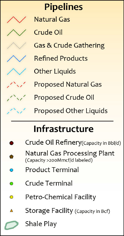 Rockies Oil & Gas Infrastructure Wall Map legend