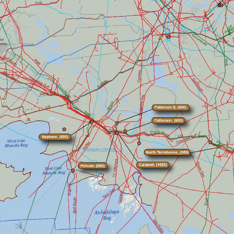 Louisiana Oil & Gas Infrastructure Map detail