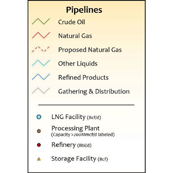 Louisiana Oil & Gas Infrastructure Map legend