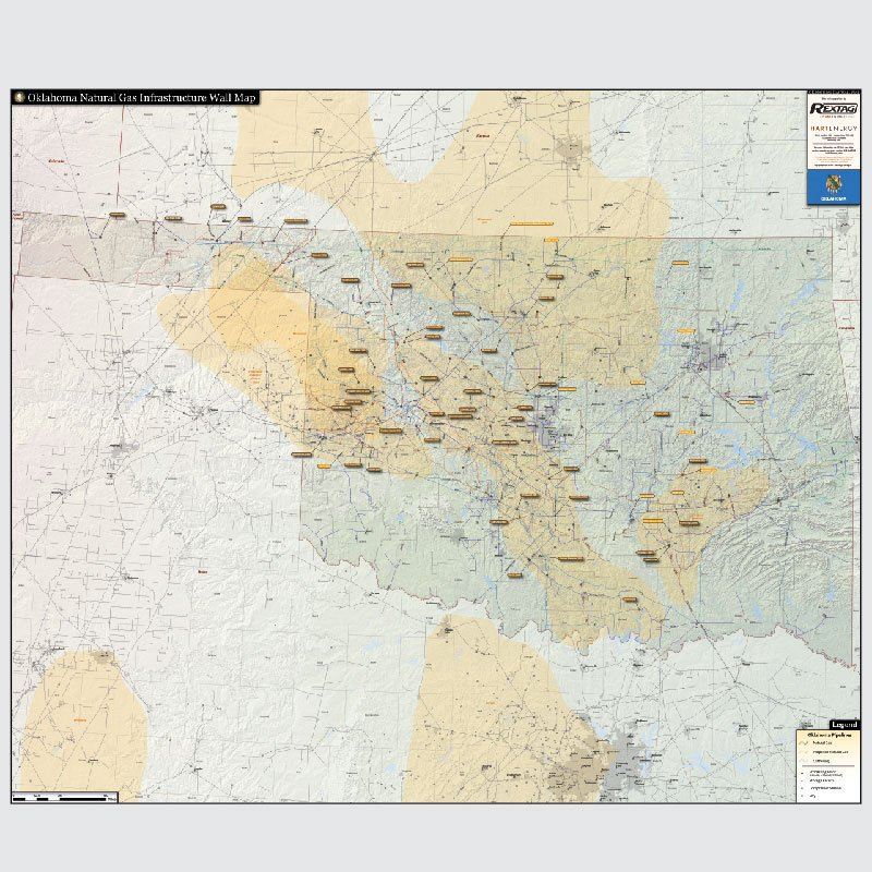 Oklahoma Natural Gas Infrastructure Wall Map