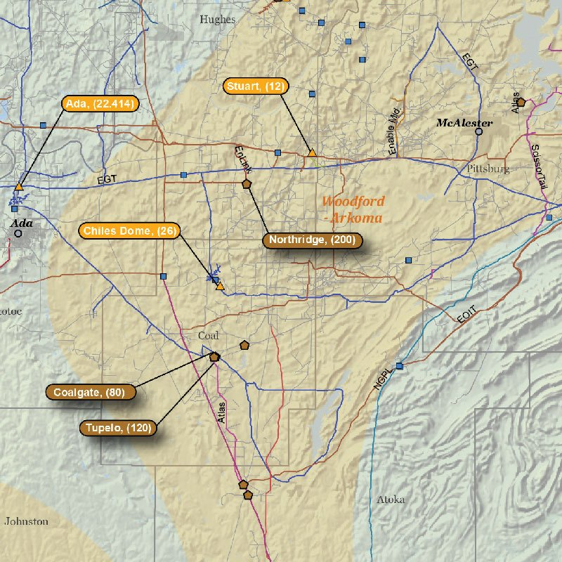 Oklahoma Natural Gas Infrastructure Wall Map detail