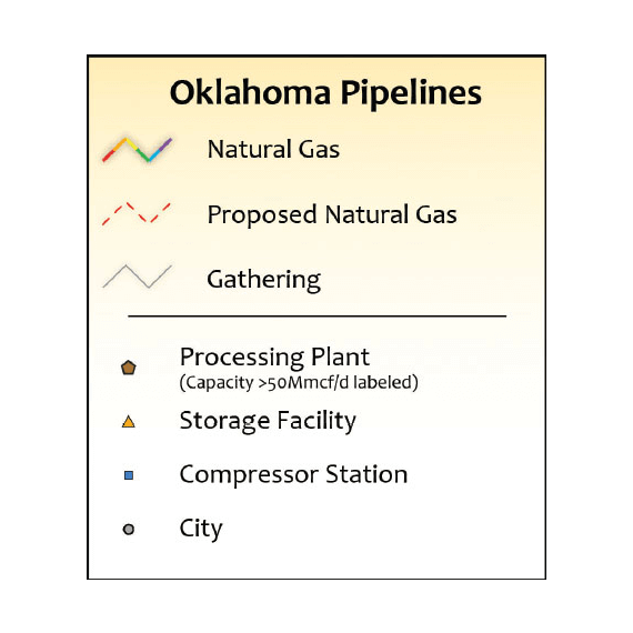 Oklahoma Natural Gas Infrastructure Wall Map legend