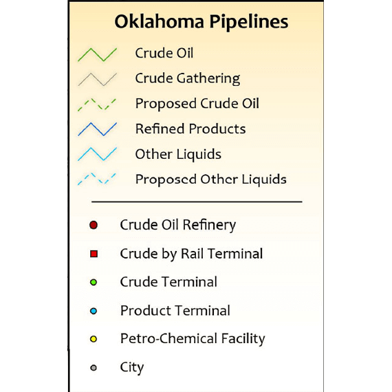Oklahoma Other Liquids HVL/LPG/NGL Infrastructure Wall Map legend