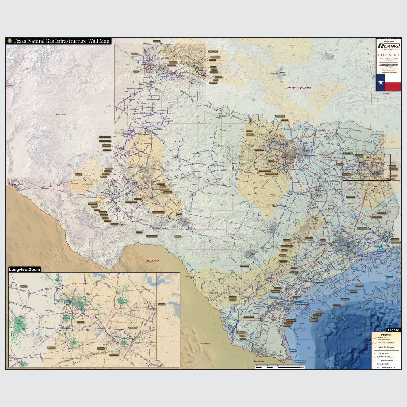 Texas Natural Gas Infrastructure Wall Map