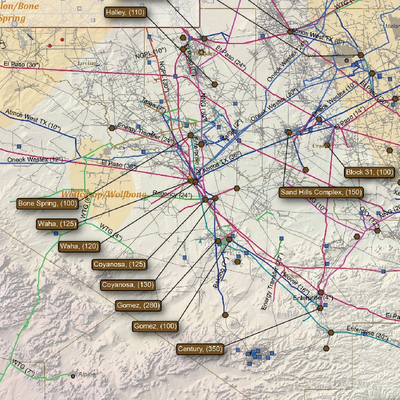 Texas Natural Gas Infrastructure Wall Map detail