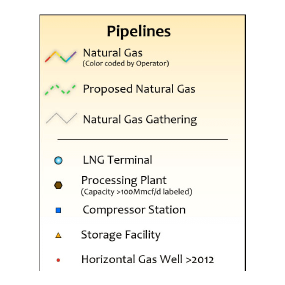 Texas Natural Gas Infrastructure Wall Map legend