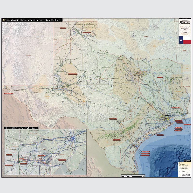 Texas Other Liquids HVL/NGL/LPG Infrastructure Wall Map