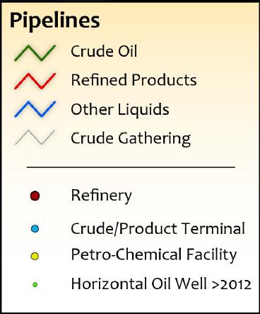 Texas Other Liquids HVL/NGL/LPG Infrastructure Wall Map legend